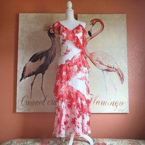 Alice+Olivia Olympia Asymmetrical Silk Maxi Dress